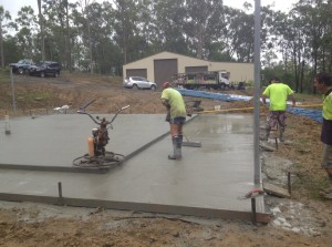 laying a concrete slab